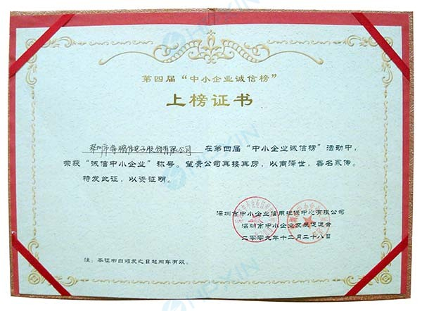 """2009年荣获""""诚信中小企业""""称号-证书.jpg"""